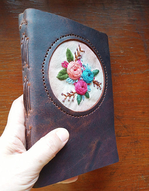 Hand-Embroidered Floral Journal #4