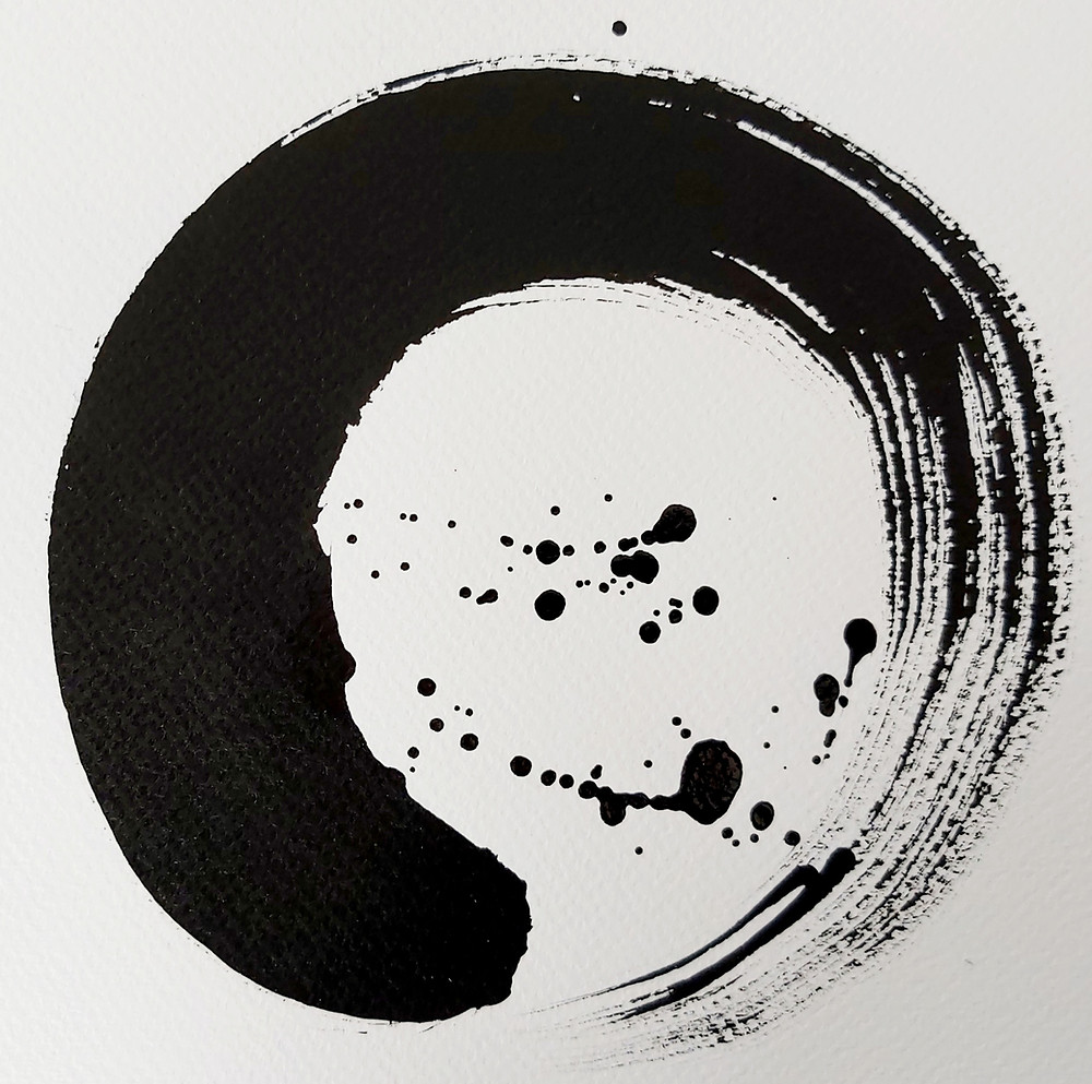 This black ink Enso was mindfully painted using a single breath, embodying the heart and mind of the artist Adele Cloony.artist.