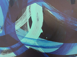 Detail of blue trio interdependence painting by artist Adele Cloony