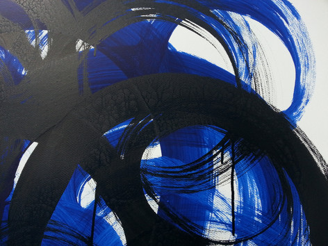Black and Blue Layers of interconectedness by absract artist Adele Cloony