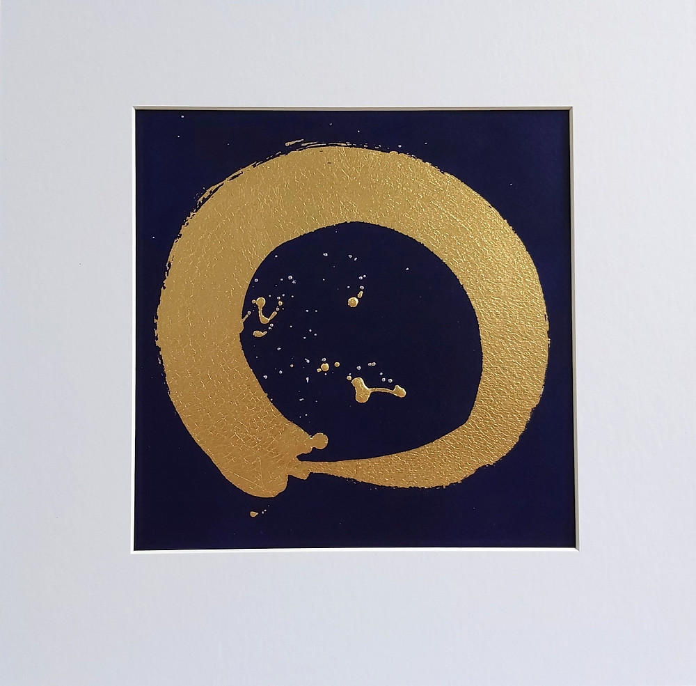 This gold leaf Enso on an indigo background, was mindfully painted by artist Adele Cloony - from her one hundred days of Enso painting project. Creating contemplation and tranquility using contemporary and traditional craftmanship.