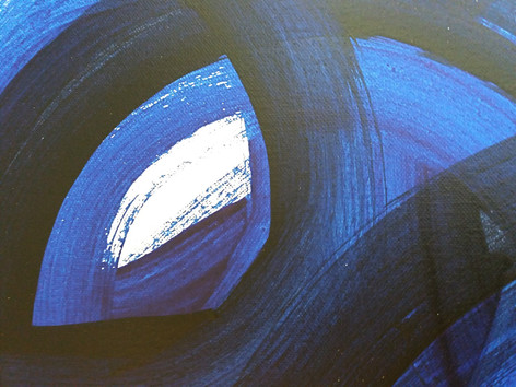 Layers of interconnectedness abstract painting in blue colourway by artist Adele Cloony