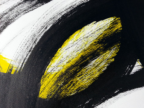 Detail of yellow and black interconnectedness painting by abstract artistAdele Cloony