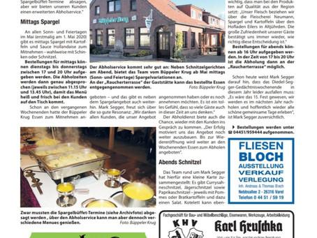Sonderseite in der Zeitung