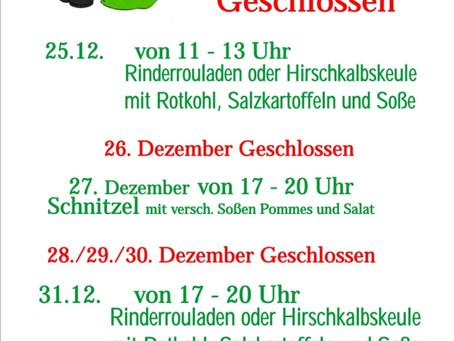 Sonder-Menüs für die Weihnachtszeit