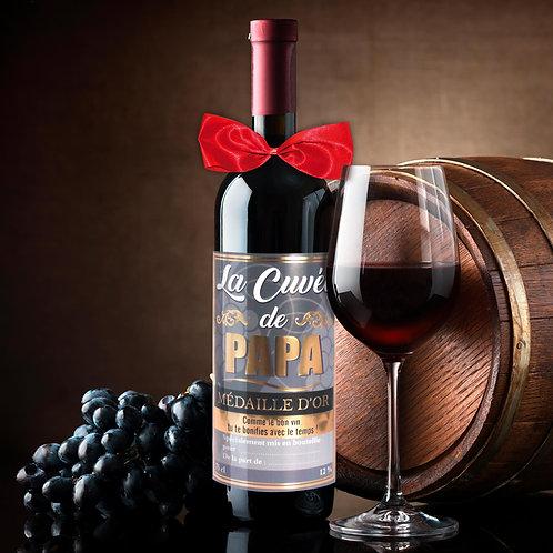 Bouteille de Vin Humoristique – La cuvée de Papa