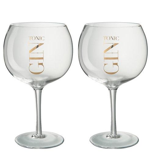 Coffret de 4 Verres Gin Tonic Transparent/Or