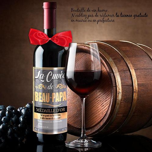 Bouteille de Vin Humoristique – La cuvée DE BEAU-PAPA -  -