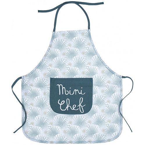 """Tablier de cuisine en coton enduit """"Mini Chef"""" palmiers/vert"""