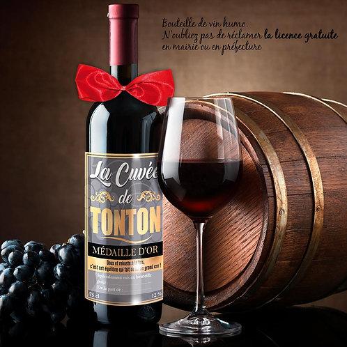 Bouteille de Vin Humoristique – La cuvée DE TONTON -
