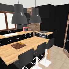 brique et meuble noir mat