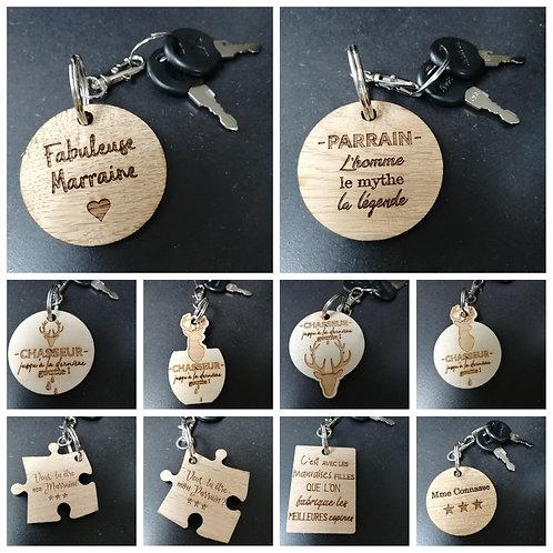Porte-clés humoristiques en bois