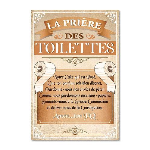 """TOILE """"LA PRIERE..TOILETTES"""" 23X34"""
