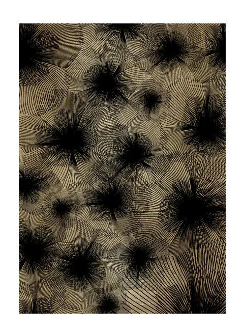 toile fleur Or/noir 140/110cm