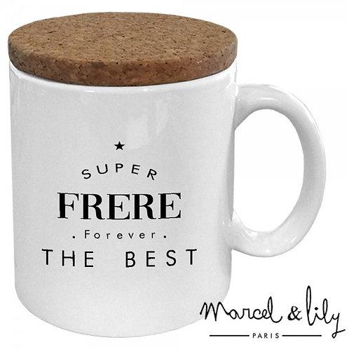 """MUG AVEC SON COUVERCLE EN LIÈGE """"Super FRERE the best  """""""