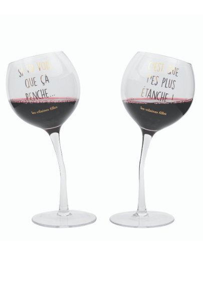 Coffret de 2 verres à vin penchés
