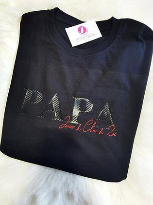 PAPA, DAD, OPA T-Shirt schwarz mit Kindernamen personalisiert