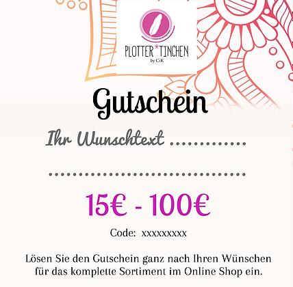 Gutschein zum verschenken von 15€ bis 100€