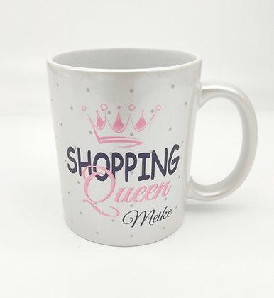 Shopping Queen Tasse mit Name, Perlweiß-Metallic personalisie