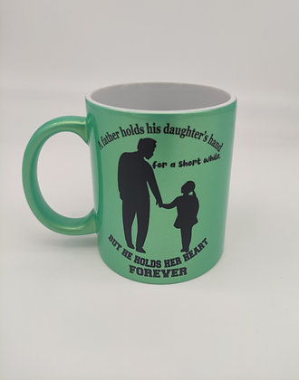 Vater/Tochter Tasse, Grün Perlmutt-Metallic