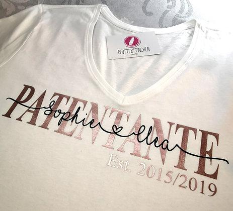 Patentante T-Shirt weiß personalisiert