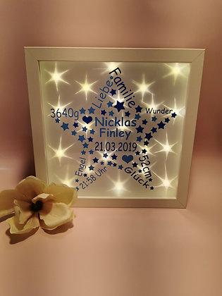 Stern Bilderrahmen zweifarbig zur Geburt beleuchtet personalisiert