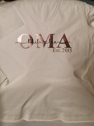 OMA T-Shirt weiß personalisiert