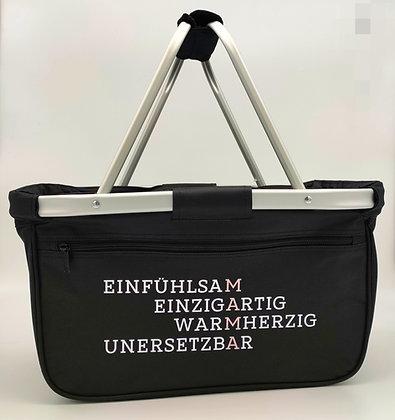 """Einkaufskorb """"EINFÜHLSAM/MAMA"""" aus Polyester in schwarz"""