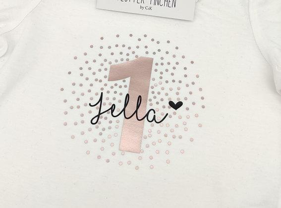 Geburtstags- Langarmshirt für Kinder mit Zahl und Name