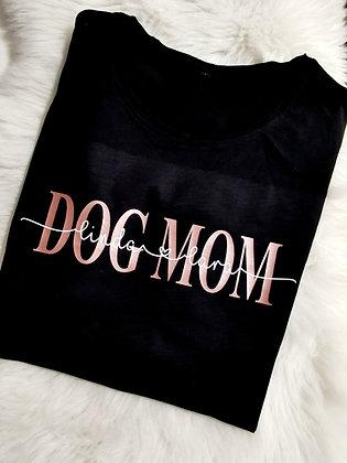 DOG MOM T-Shirt schwarz personalisiert