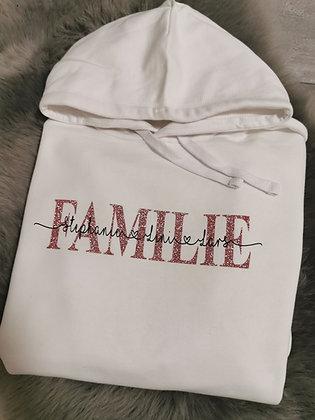 FAMILIE Hoodie in 4 Farben personalisiert