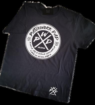 PATCHWORK DAD T-Shirt in schwarz und weiß personalisiert