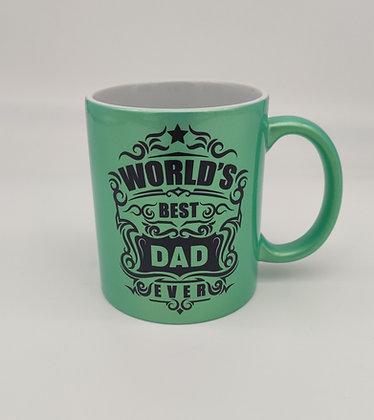"""""""WORLDS BEST DAD EVER"""" Tasse, Grün Perlmutt-Metallic"""