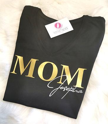 MOM T-Shirt schwarz mit eigenem Namen