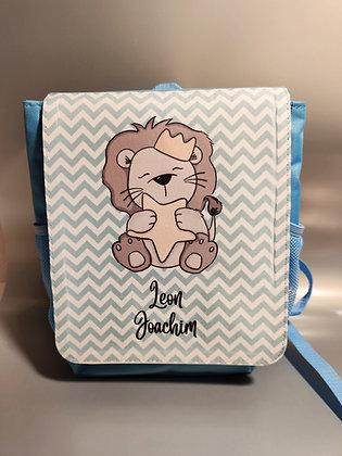 Kinderrucksack in hellblau und pink - personalisiert