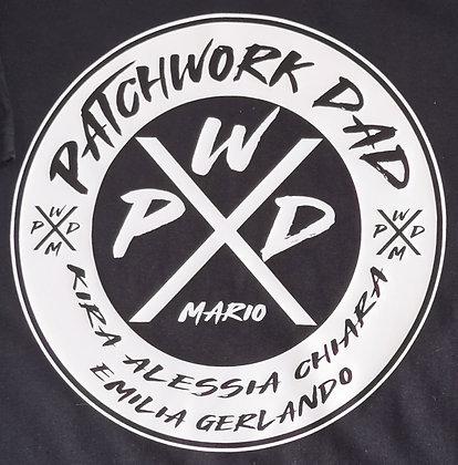 NEUE T-Shirt Marke! Patchwork DAD personalisiert mit Kindernamen in schwarz