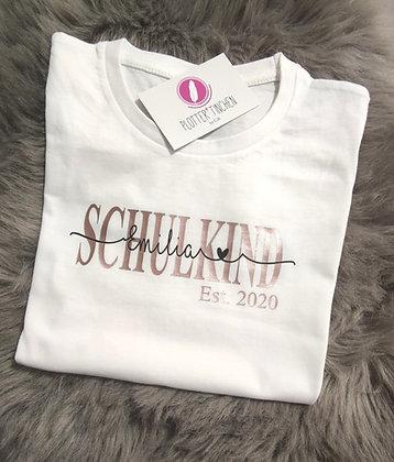 Schulkind T- Shirt mit Name personalisiert