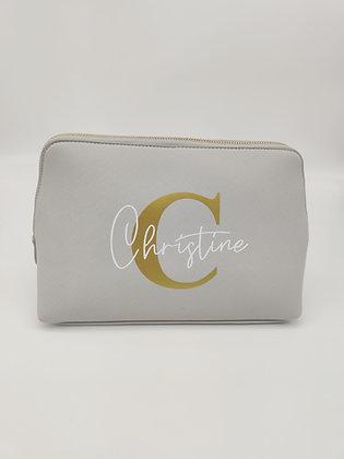 """Kosmetiktasche """"Beauty"""" mit Name in grau, schwarz und pastellrosa personalisiert"""