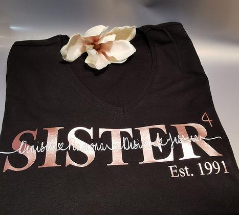 Sister T-Shirt schwarz personalisiert