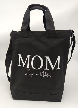 MOM Shopper in grau, schwarz und natur - personalisiert