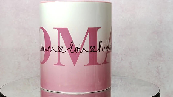 OMA Keramiktasse mit Wunschname/n personalisiert