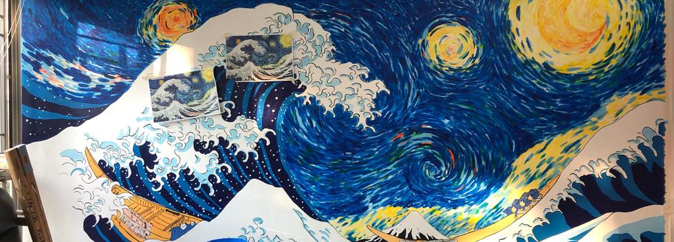 Ukiyo-e Wave X Stary Night