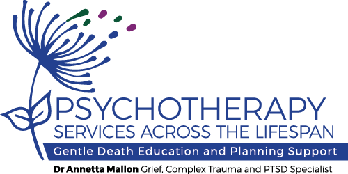 Blue dandelion GDEP logo with the words Psychotherapy Services across the Life Span, Complex Trauma and PTSD Specialist