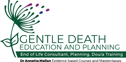 "This is the dark green, stylised dandelion logo for the GDEP End of Life Consultant, Planning and Doula online training course. The tag line reads ""Dr Annetta Mallon Evidence-based Courses and Masterclasses"""