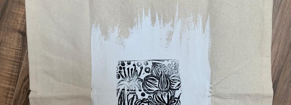 100% Cotton Eco Shopping Bag-- Botanical Design- $8