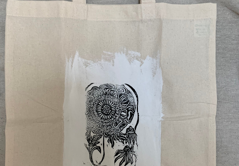 Abstract Sunflower Design Eco Shopping Bag- $8