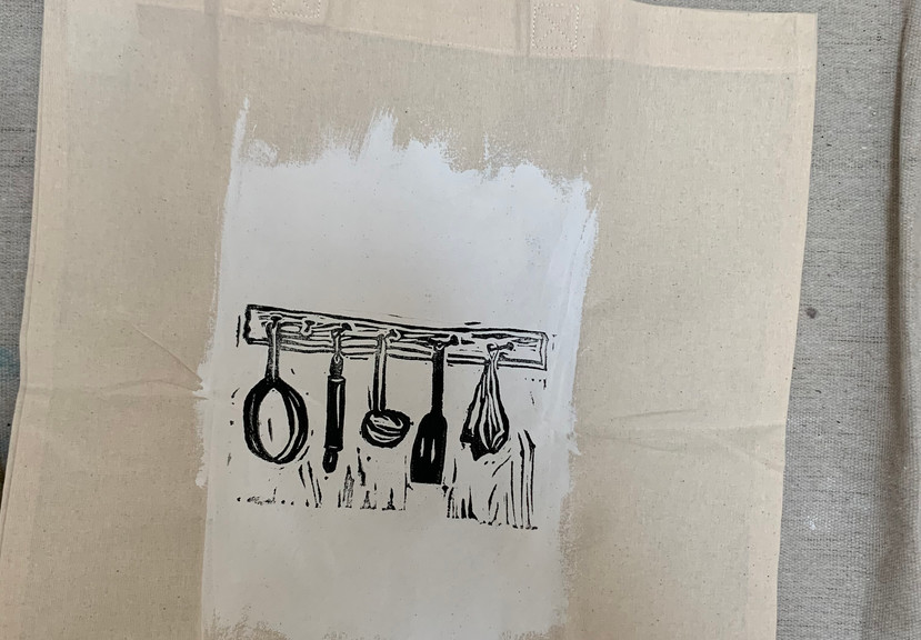 Shopping Bag- 100% Cotton, Kitchen Utensils Design - $8