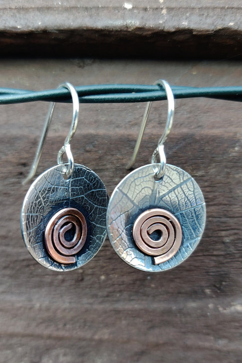Leafprint drops with copper spirals