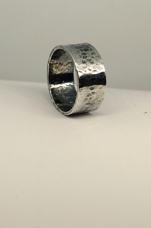 Chunky silver hammered ring