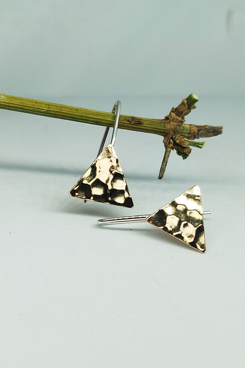shiny brass hammered triangle ear drops